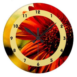 Detalle de una flor roja reloj