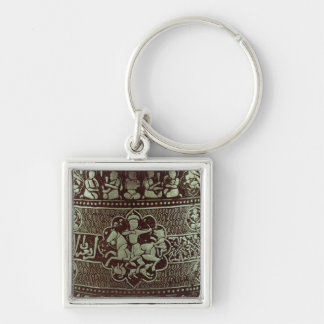 Detalle de una lámpara, de Egipto, 1282 Llavero Cuadrado Plateado