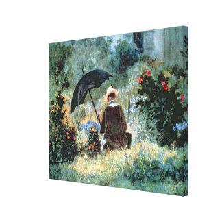 Detalle de una lectura del caballero en un jardín impresiones de lienzo