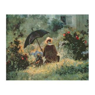 Detalle de una lectura del caballero en un jardín impresiones en madera