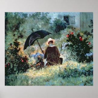 Detalle de una lectura del caballero en un jardín póster