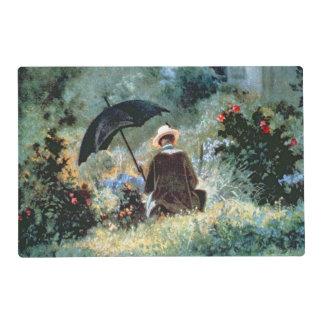 Detalle de una lectura del caballero en un jardín tapete individual