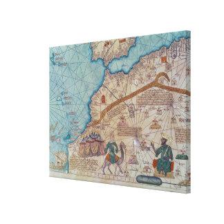 Detalle del atlas catalán, 1375 impresión en lienzo estirada