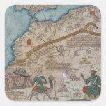 Detalle del atlas catalán, 1375 calcomania cuadrada personalizada