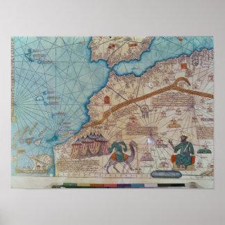 Detalle del atlas catalán, 1375 póster