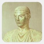 Detalle del auriga de Delphi, c.470 A.C. Pegatinas Cuadradases Personalizadas