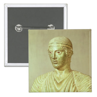 Detalle del auriga de Delphi, c.470 A.C. Pin Cuadrada 5 Cm