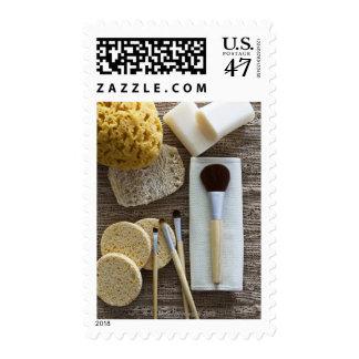 Detalle del balneario de esponjas y de cepillos sello