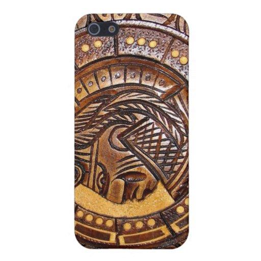 Detalle del calendario maya antiguo iPhone 5 cárcasa