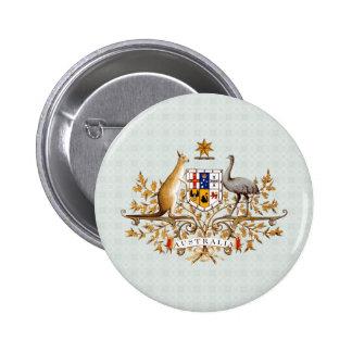 Detalle del escudo de armas de Australia Pin Redondo 5 Cm