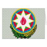 Detalle del escudo de armas de Azerbaijan Tarjeton