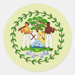 Detalle del escudo de armas de Belice Etiqueta Redonda