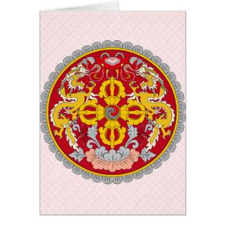 Detalle del escudo de armas de Bhután Tarjeton