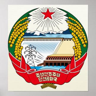 Detalle del escudo de armas de Corea del Norte Póster