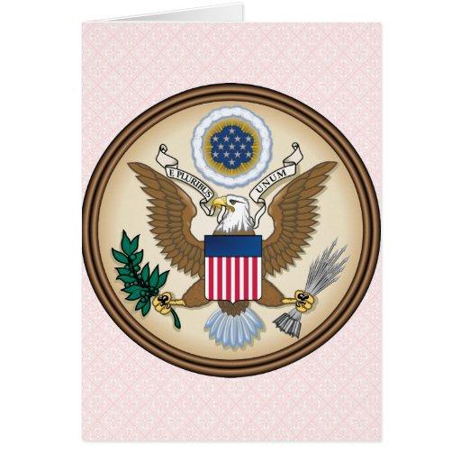 Detalle del escudo de armas de Estados Unidos Tarjeton