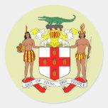 Detalle del escudo de armas de Jamaica Pegatinas Redondas