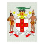 Detalle del escudo de armas de Jamaica Tarjetas Postales