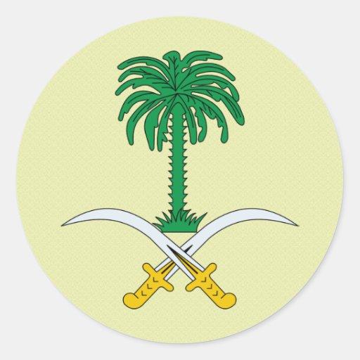 Detalle del escudo de armas de la Arabia Saudita Pegatina Redonda