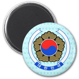 Detalle del escudo de armas de la Corea del Sur Imanes