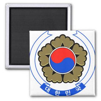 Detalle del escudo de armas de la Corea del Sur Imán De Frigorifico