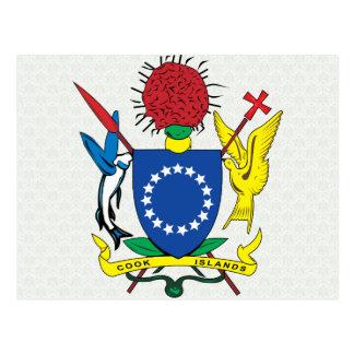 Detalle del escudo de armas de las islas de cocine postal