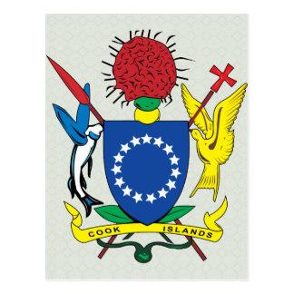 Detalle del escudo de armas de las islas de cocine tarjeta postal