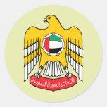 Detalle del escudo de armas de los Uae Etiqueta Redonda