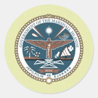 Detalle del escudo de armas de Marshall Islands Pegatina Redonda