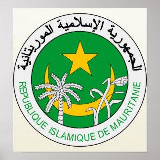 Detalle del escudo de armas de Mauritania Poster