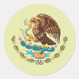 Detalle del escudo de armas de México Pegatina Redonda