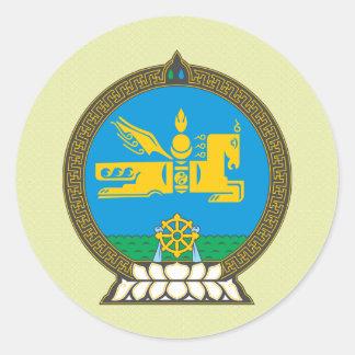 Detalle del escudo de armas de Mongolia Pegatina Redonda