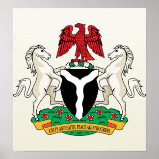 Detalle del escudo de armas de Nigeria Póster
