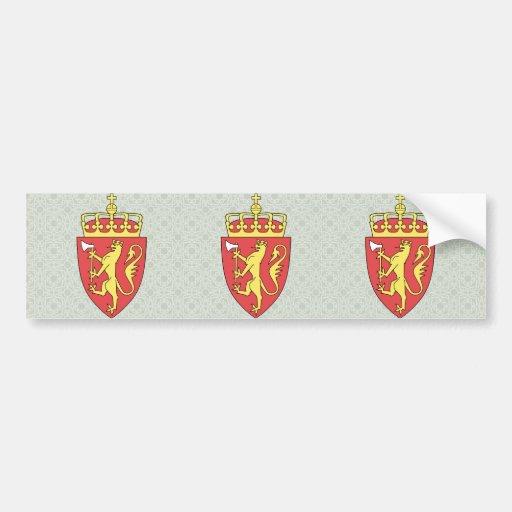 Detalle del escudo de armas de Noruega Etiqueta De Parachoque