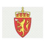 Detalle del escudo de armas de Noruega Tarjeta Postal