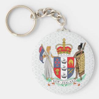 Detalle del escudo de armas de Nueva Zelanda Llavero Redondo Tipo Pin