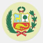 Detalle del escudo de armas de Perú Etiqueta Redonda