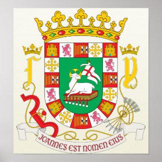 Detalle del escudo de armas de Puerto Rico Póster