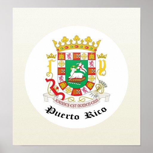 Detalle del escudo de armas de Puerto Rico Poster