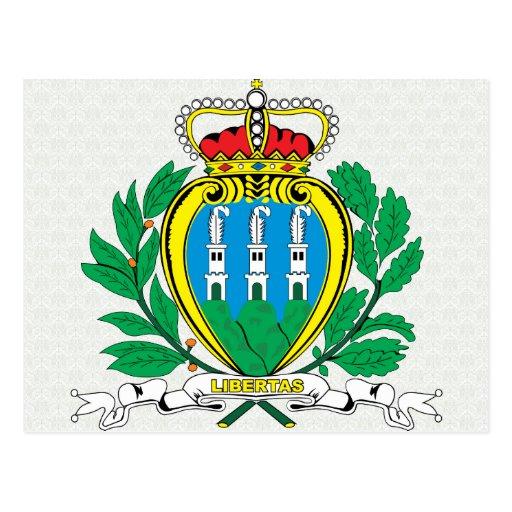 Detalle del escudo de armas de San Marino Postales