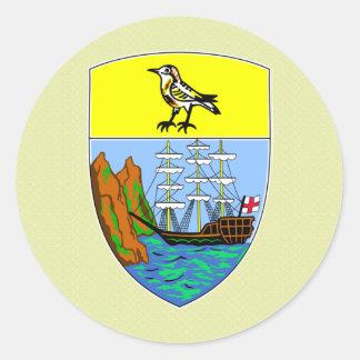 Detalle del escudo de armas de Santa Helena Pegatina Redonda