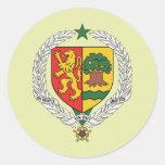 Detalle del escudo de armas de Senegal Etiquetas Redondas