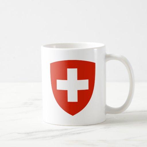Detalle del escudo de armas de Suiza Taza