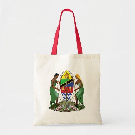 Detalle del escudo de armas de Tanzania Bolsa Tela Barata