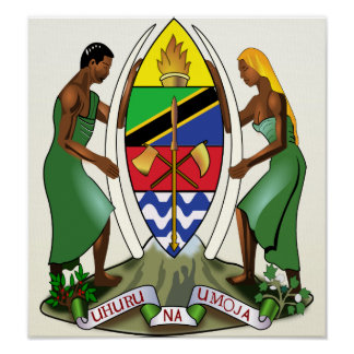 Detalle del escudo de armas de Tanzania Poster
