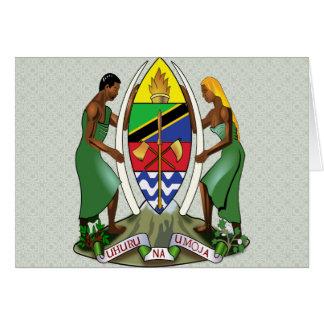Detalle del escudo de armas de Tanzania Tarjeton