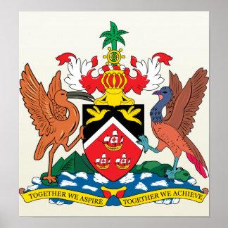 Detalle del escudo de armas de Trinidadandtobago Póster