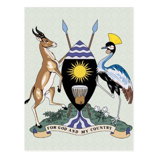 Detalle del escudo de armas de Uganda Postales