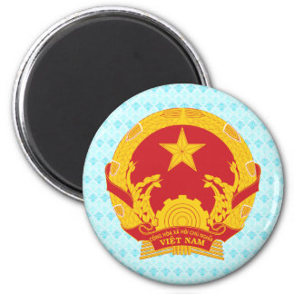 Detalle del escudo de armas de Vietnam Imán Redondo 5 Cm