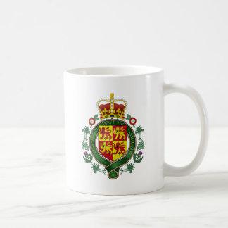 Detalle del escudo de armas Galés Taza Básica Blanca