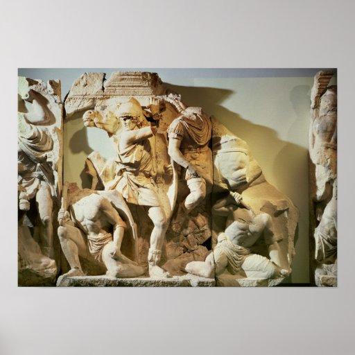 Detalle del friso de una escena de batalla póster